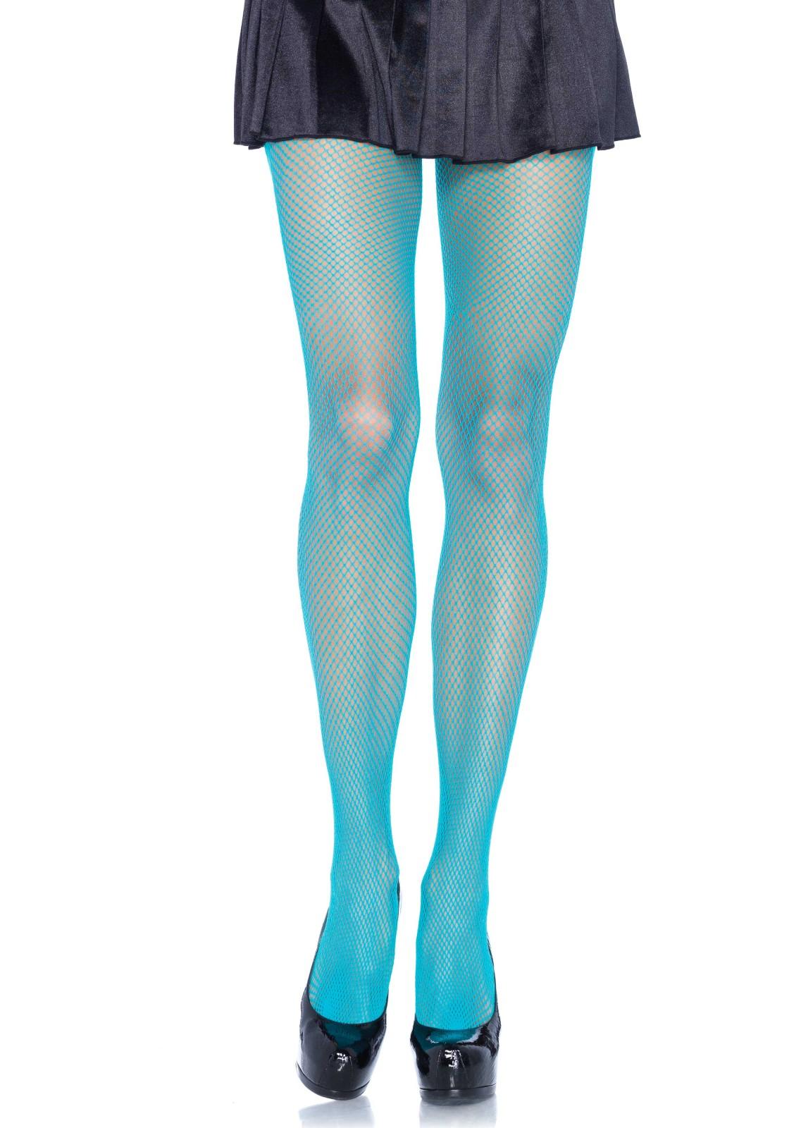 Collant résille fine bleu